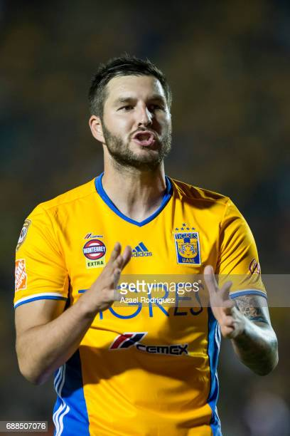 Andre Gignac of Tigres reacts during the Final first leg match between Tigres UANL and Chivas as part of the Torneo Clausura 2017 Liga MX at...
