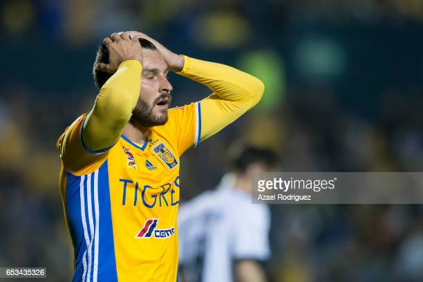 Andre Gignac of Tigres reacts during the semifinals first leg match between Tigres UANL and Vancouver Whitecaps as part of the CONCACAF Champions...