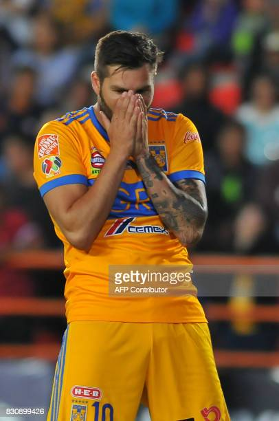 Andre Gignac of Tigres reacts during their Mexican Apertura 2017 Tournament football match against Pachuca at Hidalgo stadium on August 12 in Pachuca...