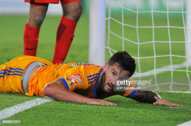 Andre Gignac of Tigres reacts during their Mexican Apertura 2017 Tournament football match at Hidalgo stadium on August 12 in Pachuca Mexico / AFP...