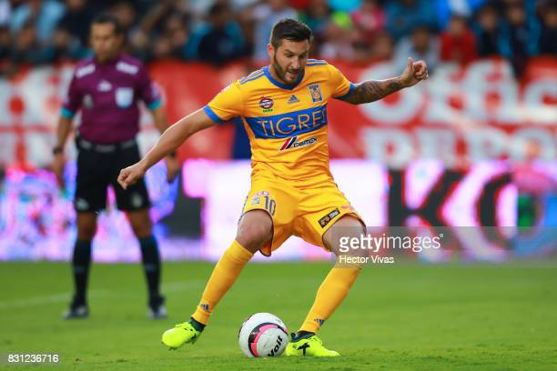Andre Gignac of Tigres scores a penalty shot during the 4th round match between Pachuca and Tigres UANL as part of the Torneo Apertura 2017 Liga MX...