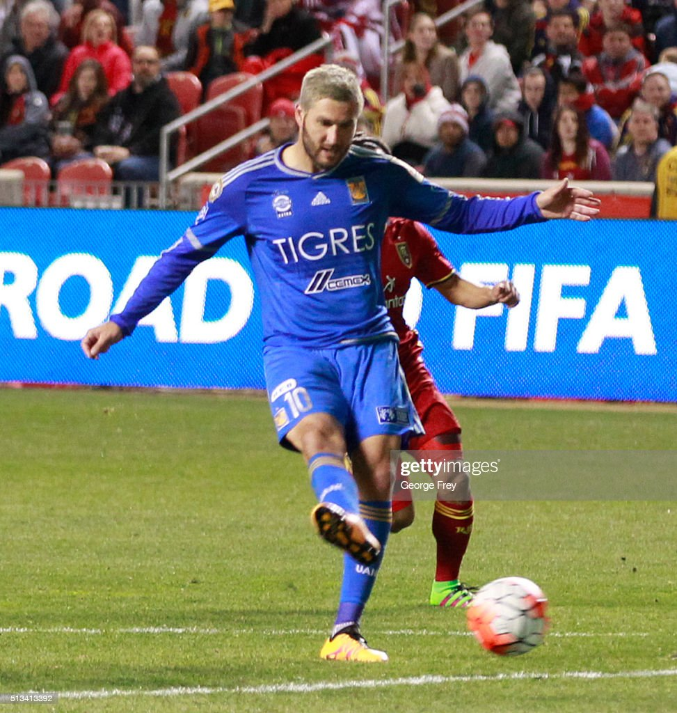Andre Gignac of Tigres shoots to score during the quarterfinals second leg match between Real Salt Lake and Tigres UANL as part of the Concacaf...