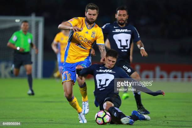 Andre Gignac of Tigres struggles for the ball with Pablo Jaquez of Pumas during the quarterfinals second leg match between Pumas UNAM and Tigres UANL...