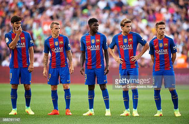 Andre Gomes Lucas Digne Samuel Umtiti Sergi Samper and Denis Suarez of FC Barcelona look on prior to the Joan Gamper trophy match between FC...