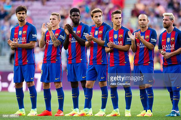 Andre Gomes Lucas Digne Samuel Umtiti Sergi Samper Denis Suarez Andres Iniesta and Lionel Messi of FC Barcelona look on during the team official...