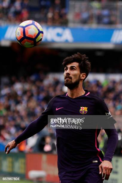 Andre Gomes midfielder of FC Barcelona controls the ball during the La Liga Santander match between Deportivo de La Coruña and FC Barcelona at Riazor...