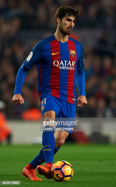 Andre Gomes of Barcelona in action during the La Liga match between FC Barcelona and CD Leganes at Camp Nou Stadium on February 19 2017 in Barcelona...