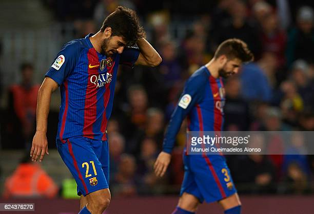 Andre Gomes of Barcelona reacts during the La Liga match between FC Barcelona and Malaga CF at Camp Nou stadium on November 19 2016 in Barcelona Spain