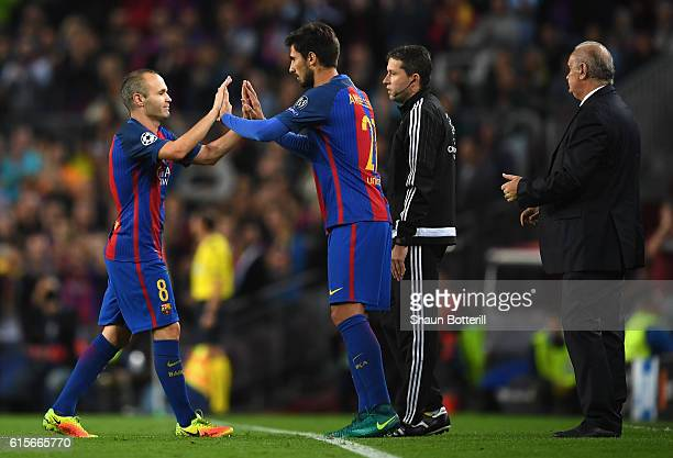 Andre Gomes of Barcelona replaces Andres Iniesta of Barcelona during the UEFA Champions League group C match between FC Barcelona and Manchester City...