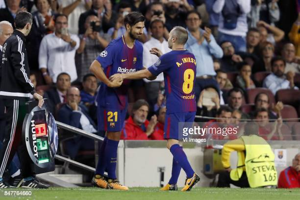 Andre Gomes of FC Barcelona Andres Iniesta of FC Barcelona during the UEFA Champions League group D match between FC Barcelona and Juventus FC on...