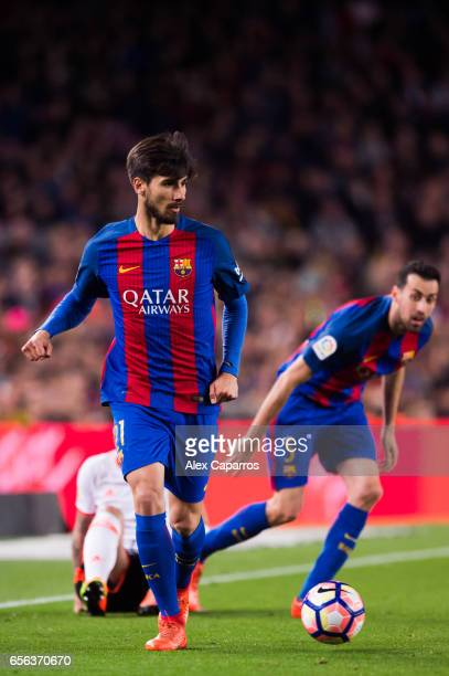 Andre Gomes of FC Barcelona plays the ball during the La Liga match between FC Barcelona and Valencia CF at Camp Nou stadium on March 19 2017 in...