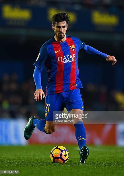 Andre Gomes of FC Barcelona runs with the ball during the La Liga match between Villarreal CF and FC Barcelona at Estadio de la Ceramica stadium on...