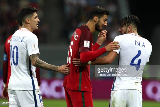 Andre Gomes of Portugal clashes with Mauricio Isla of Chile during the FIFA Confederations Cup Russia 2017 SemiFinal match between Portugal and Chile...
