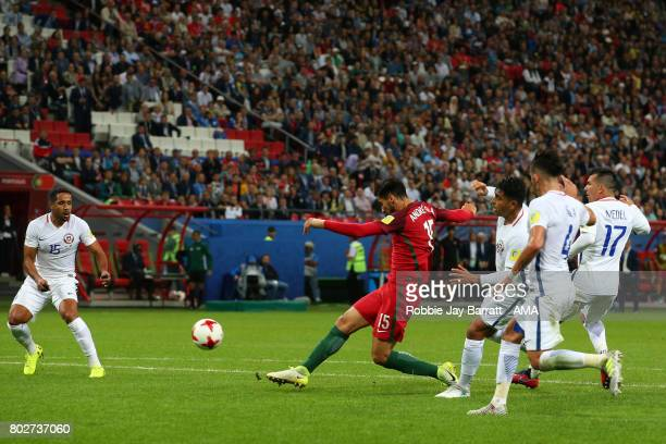 Andre Gomes of Portugal shoots at goal during the FIFA Confederations Cup Russia 2017 SemiFinal match between Portugal and Chile at Kazan Arena on...