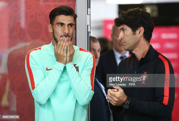 Andre Gomes of Portugal waits in the tunnel prior to the FIFA Confederations Cup Russia 2017 Group A match between Russia and Portugal at Spartak...