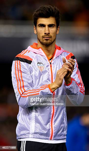 Andre Gomes of Valencia greets the public before the La Liga match between Valencia CF and Sevilla FC at Estadi de Mestalla on January 25 2015 in...