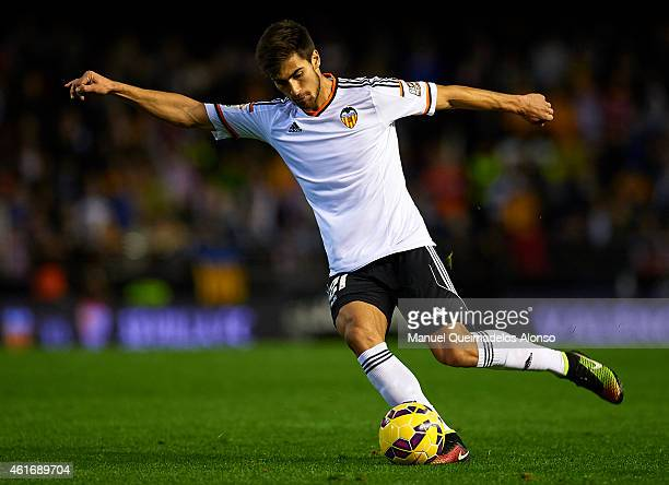 Andre Gomes of Valencia in action during the La Liga match between Valencia CF and UD Almeria at Estadi de Mestalla on January 17 2015 in Valencia...
