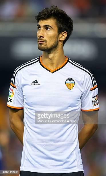 Andre Gomes of Valencia looks on prior to the La Liga match between Valencia CF and Cordoba CF at Estadio Mestalla on September 25 2014 in Valencia...