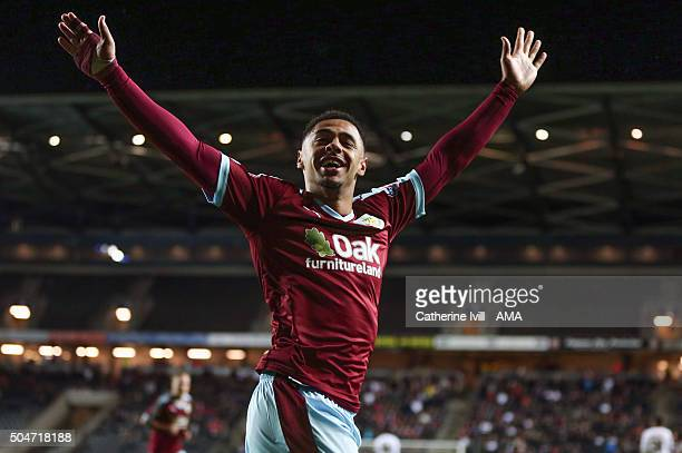 Andre Gray of Burnley celebrates after scoring to make it 03 during the Sky Bet Championship match between MK Dons and Burnley at Stadium mk on...