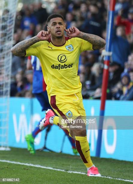 Andre Gray of Burnley celebrates scoring his team's second goal during the Premier League match between Crystal Palace and Burnley at Selhurst Park...
