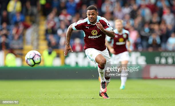 Andre Gray of Burnley during the Premier League match between Burnley and Cardiff City at Turf Moor on August 13 2016 in Burnley England