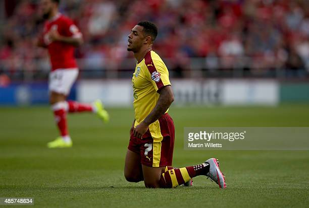 Andre Gray of Burnley during the Sky Bet Championship match between Bristol City and Burnley at Ashton Gate on August 29 2015 in Bristol England