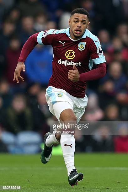 Andre Gray of Burnley in action during the Barclays Premier League match between Burnley and Sunderland on December 31 2016 in Burnley England