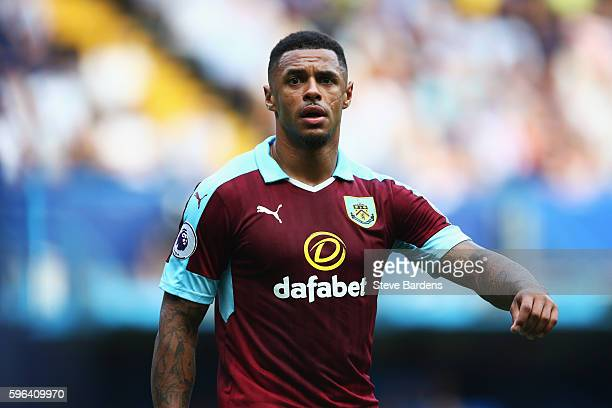 Andre Gray of Burnley in action during the Premier League match between Chelsea and Burnley at Stamford Bridge on August 27 2016 in London England