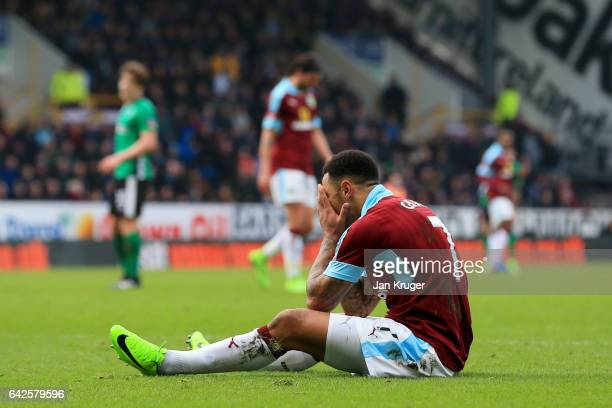 Andre Gray of Burnley is dejected after missing a chance during The Emirates FA Cup Fifth Round match between Burnley and Lincoln City at Turf Moor...