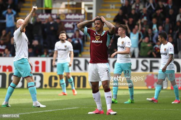 Andre Gray of Burnley reacts during the Premier League match between Burnley and West Ham United at Turf Moor on May 21 2017 in Burnley England