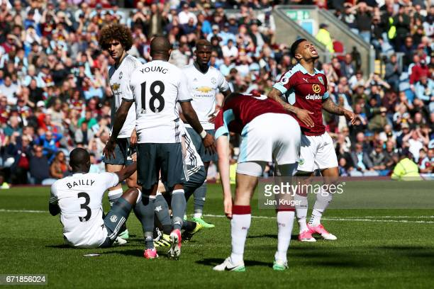 Andre Gray of Burnley reacts to a missed opportunity during the Premier League match between Burnley and Manchester United at Turf Moor on April 23...