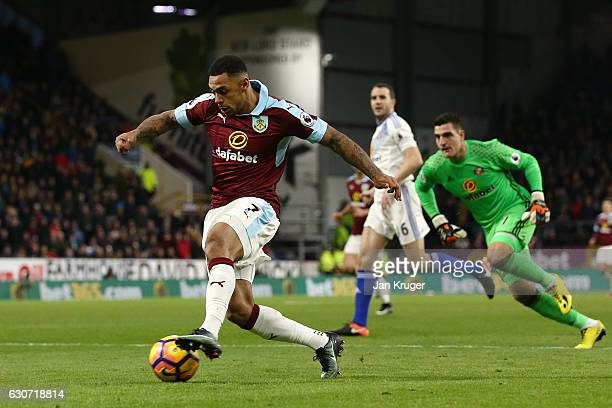 Andre Gray of Burnley runs with the ball to score his team's second goal during the Premier League match between Burnley and Sunderland at Turf Moor...