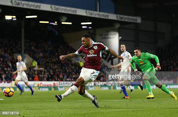 Andre Gray of Burnley scores his team's second goal during the Premier League match between Burnley and Sunderland at Turf Moor on December 31 2016...