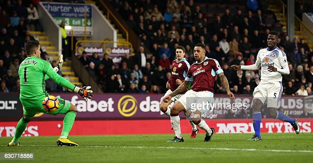 Andre Gray of Burnley scores his team's third and hat trick goal during the Premier League match between Burnley and Sunderland at Turf Moor on...
