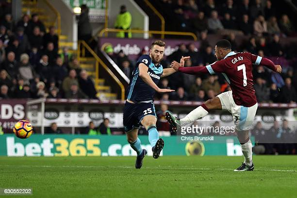 Andre Gray of Burnley scores the opening goal of the game during the Barclays Premier League match between Burnley and Middlesbrough on December 26...