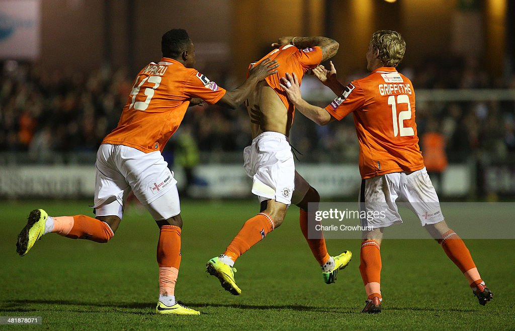 Andre Gray of Luton celebrates after scoring the winning goal during the Skrill Conference Premier match between Dartford and Luton Town at Princes Park on April 01, 2014 in Dartford, England,