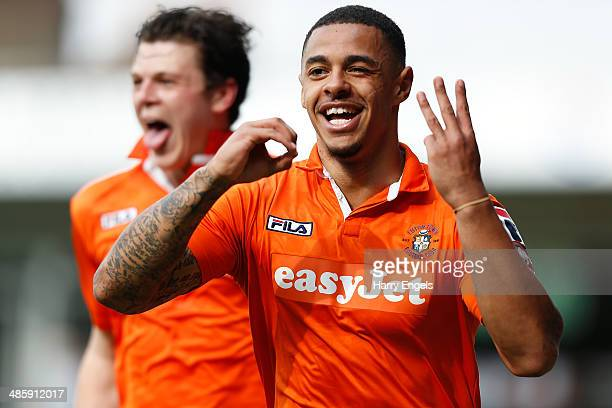 Andre Gray of Luton Town celebrates after scoring his second goal during the Skrill Conference Premier match between Luton Town and Forest Green at...