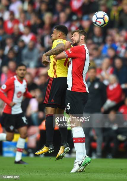 Andre Gray of Watford and Jack Stephens of Southampton in action during the Premier League match between Southampton and Watford at St Mary's Stadium...