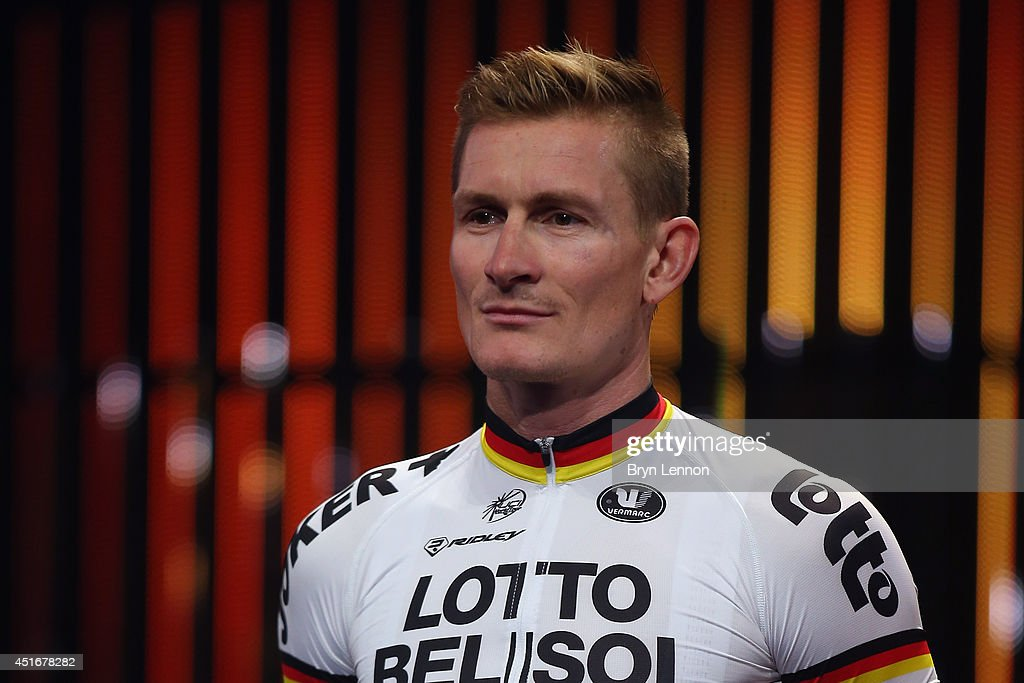 <a gi-track='captionPersonalityLinkClicked' href=/galleries/search?phrase=Andre+Greipel&family=editorial&specificpeople=874849 ng-click='$event.stopPropagation()'>Andre Greipel</a> of Germany and Lotto Belisol attends the 2014 Tour de France Team Presentation prior to the 2014 Le Tour de France Grand Depart on July 3, 2014 in Leeds, United Kingdom.