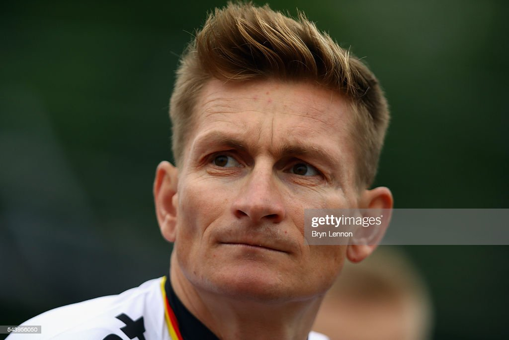 <a gi-track='captionPersonalityLinkClicked' href=/galleries/search?phrase=Andre+Greipel&family=editorial&specificpeople=874849 ng-click='$event.stopPropagation()'>Andre Greipel</a> of Germany and Lotto Soudal attends the Team Presentation ahead of the 2016 Tour de France at on June 30, 2016 in Sainte-Mere-Eglise, France.