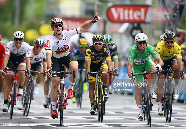 Andre Greipel of Germany and Lotto Soudal reacts on the finishline but was beaten by Mark Cavendish of Great Britain and Team Dimension Data during...