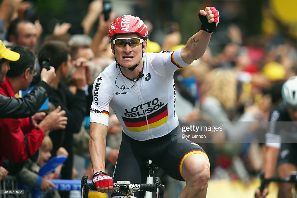 Andre Greipel of Germany and Lotto-Belisol celebrates winning stage six of the 2014 Tour de France, a 194km stage between Arras and Reims, on July 10, 2014 in Reims, France.