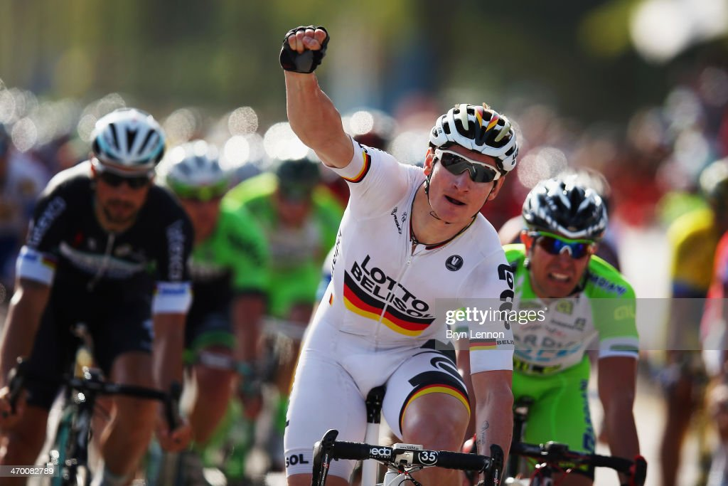 Andre Greipel of Germany and Lotto-Belisol celebrates winning stage one of the Tour of Oman from As Suwayq Castle to Naseem Garden on February 18, 2014 in Muscat, Oman.