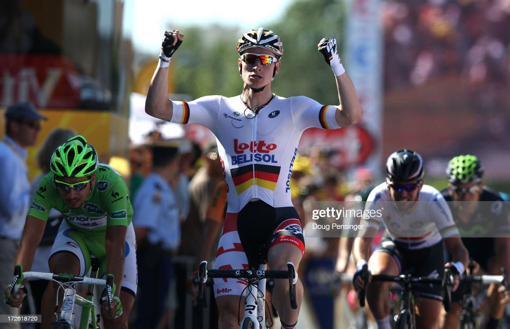 <a gi-track='captionPersonalityLinkClicked' href=/galleries/search?phrase=Andre+Greipel&family=editorial&specificpeople=874849 ng-click='$event.stopPropagation()'>Andre Greipel</a> of Germany and Lotto-Belisol crosses the line to win stage six of the 2013 Tour de France, a 176.5KM road stage from Aix-en-Provence to Montpellier, on July 4, 2013 in Aix-en-Provence, France.