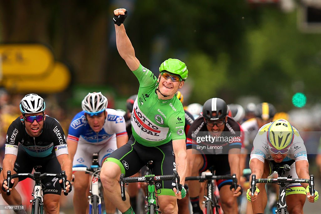 Andre Greipel of Germany and Lotto-Soudal celebrates his victory during stage five of the 2015 Tour de France, a 189.5km stage between Arras and Amiens on July 8, 2015 in Amiens, France.