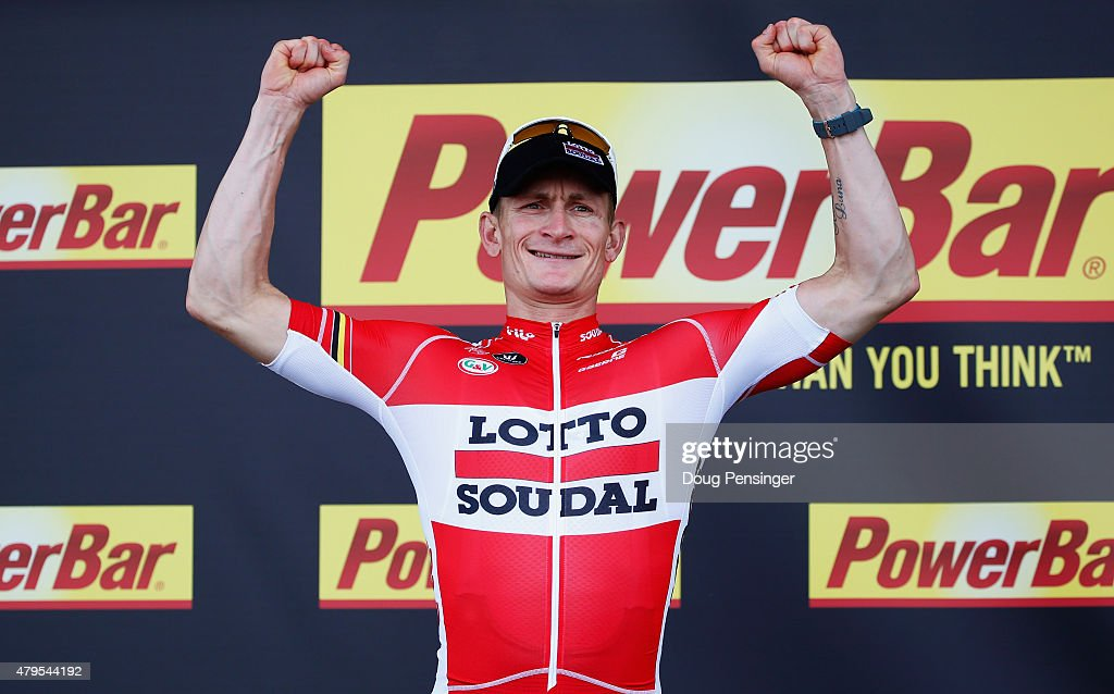Andre Greipel of Germany and Lotto-Soudal celebrates the stage victory on the podium after stage two of the 2015 Tour de France, a 166km stage between Utrecht and Zelande, on July 5, 2015 in Zelande, Netherlands.