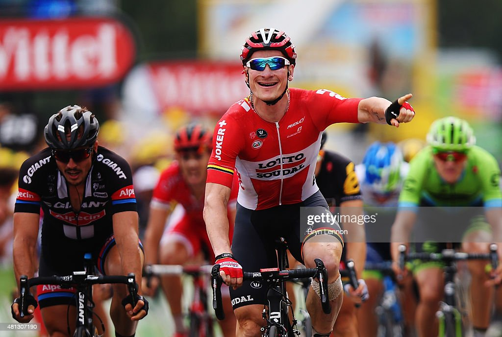 Andre Greipel of Germany and Lotto-Soudal celebrates winning Stage 15 of the Tour de France, a 183km rolling stage from Mende to Valence, on July 19, 2015 in Valence, France.