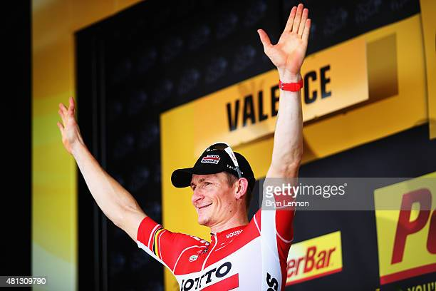 Andre Greipel of Germany and LottoSoudal celebrates winning Stage 15 of the Tour de France a 183km rolling stage from Mende to Valence on July 19...