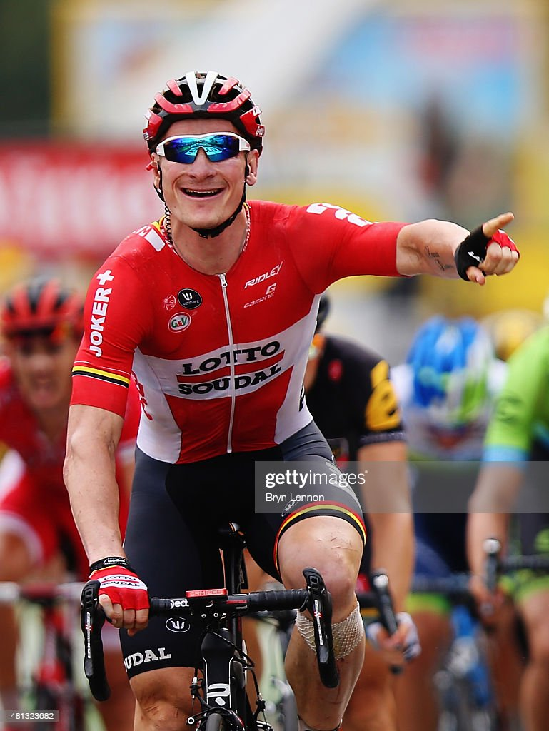 <a gi-track='captionPersonalityLinkClicked' href=/galleries/search?phrase=Andre+Greipel&family=editorial&specificpeople=874849 ng-click='$event.stopPropagation()'>Andre Greipel</a> of Germany and Lotto-Soudal celebrates winning Stage 15 of the Tour de France, a 183km rolling stage from Mende to Valence, on July 19, 2015 in Valence, France.