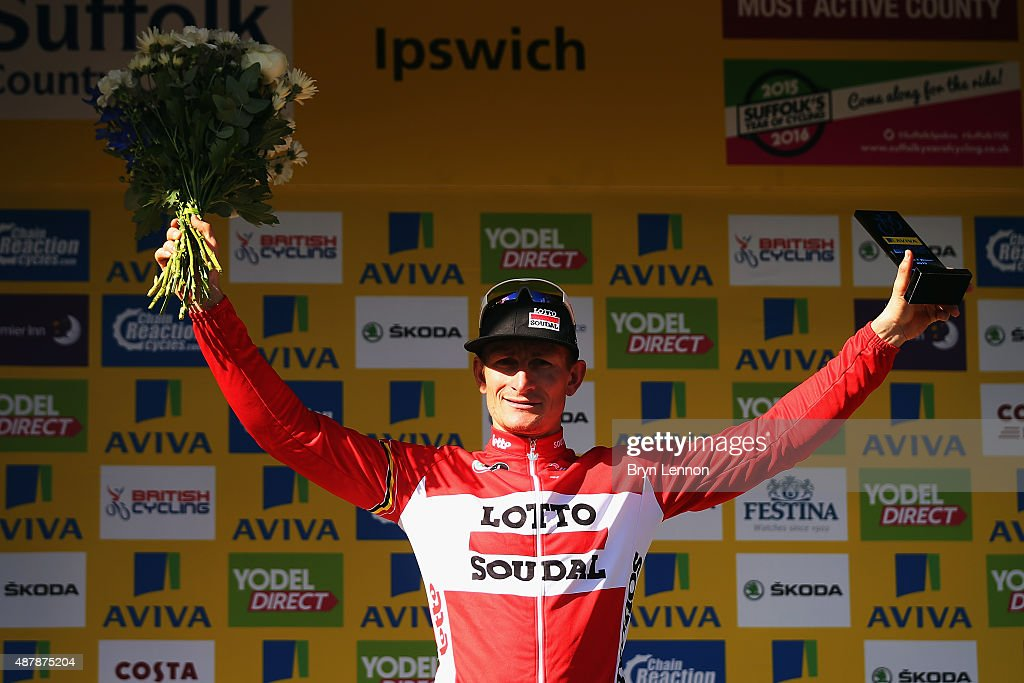 Andre Greipel of Germany and Lotto-Soudal celebrates winning stage seven of the 2015 Tour of Britain from Fakenham Racecourse to Ipswich on September 12, 2015 in Ipswich, England.